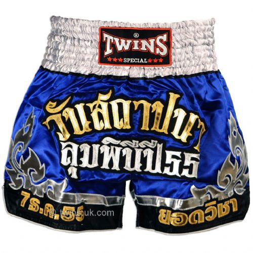 Twins TWS-890 Blue/Silver/Gold Muay Thai Shorts